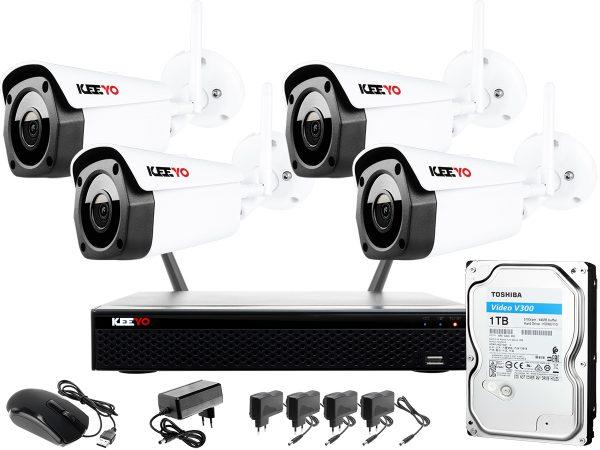 Zestaw do monitoringu bezprzewodowego Wifi H265+ 8MPx IR 30m 1TB 4 tubowe
